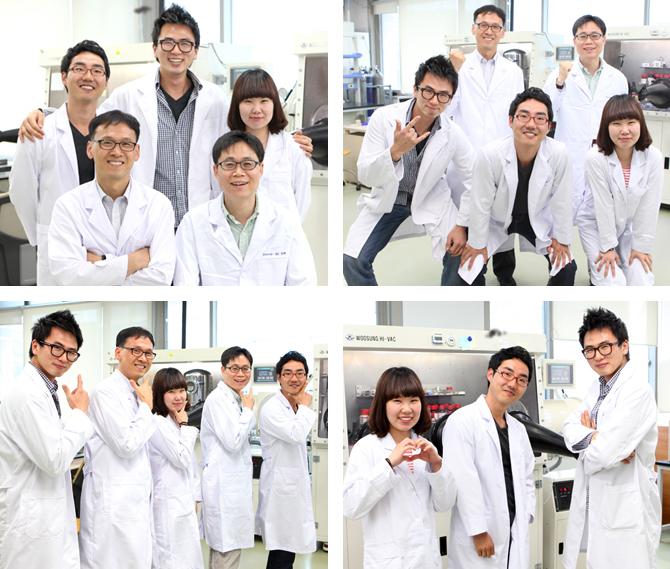2013년 7월 '네이처 포토닉스'에 논문을 게재한 뒤 김진영 교수(첫 번째 사진 앞 줄 왼쪽) 연구팀과 김병수 교수(첫 번째 사진 앞줄 오른쪽) 연구팀이 함께 촬영한 사진들이다. 최효성 교수는 첫 번째 사진에서 뒷줄 왼쪽 첫 번째에 있다. | 사진 출처: UNIST Webzine