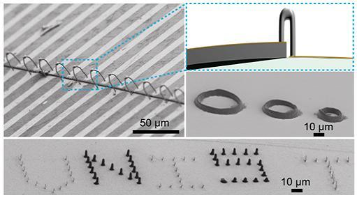 은(Ag)을 인쇄해 만든 3차원 다리(bridge) 구조의 전극배선이다. 확대된 사진에서 유연성이 극대화됐고, 높이 차이가 있는 굴곡진 기판 표면에서도 전자회로들을 연결해 구동할 수 있다는 점을 알 수 있다.