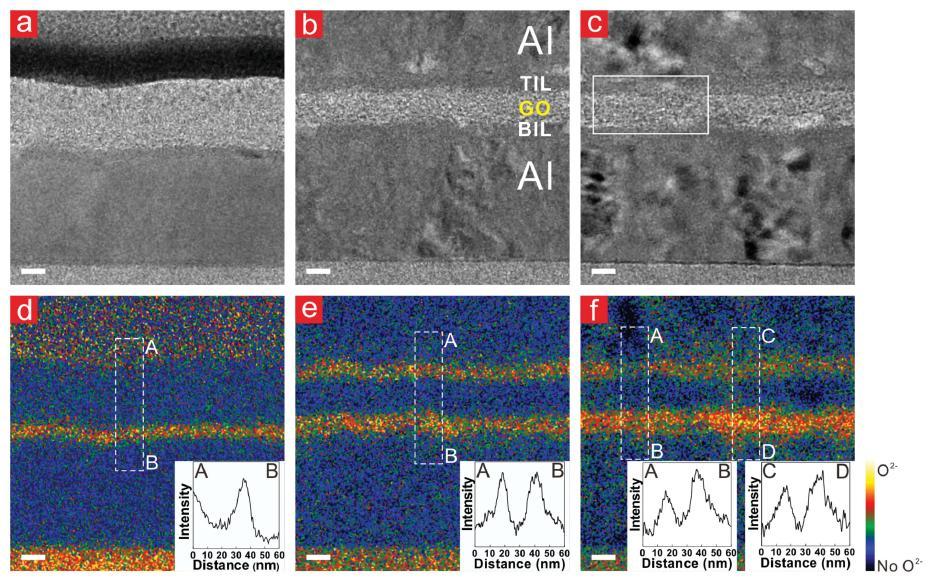 상부 전극에 음의 전압을 가해 소자를 On 상태 (고전류가 흐르는 상태)로 만들었을 때 상부 계면에 존재하는 산소가 아래 그래핀 산화물 박막으로 이동됨을 보여주는 투과전자현미경 결과이다.