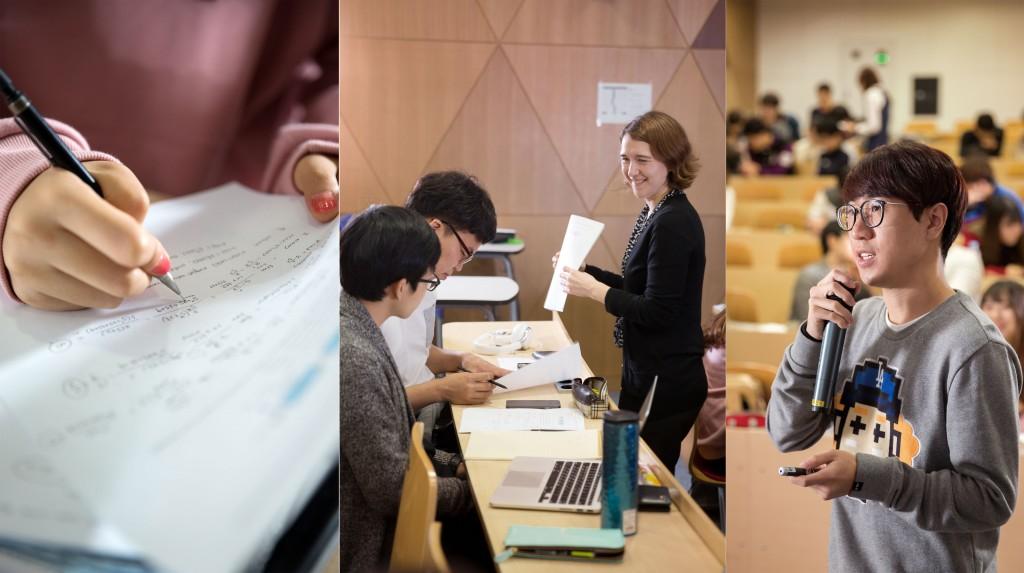 수업 중에 문제를 풀고, 교수에게 질문하고, 해결한 문제를 발표하는 기회가 주어진다. 이를 통해 학생들은 스스로 학습하는 법을 터득한다. | 사진: 안홍범