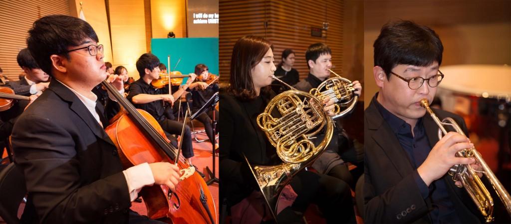UNISTRA에는 바이올린, 호른, 트렘펫 등 다양한 악기를 다루는 학생들이 있다. 이들이 평소 갈고 닦은 실력은 UNIST 공식행사에서 볼 수 있다. | 사진: 안홍범