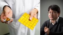 백정민 교수(왼쪽)는 압전효과나 정전기 효과를 이용해 센서에 에너지를 공급하는 기술을 연구하고 있다. 오른쪽 사진은 최근 백 교수팀이 개발한 '스펀지 나노 발전기'의 모습이다. | 사진: 김경채, 안홍범