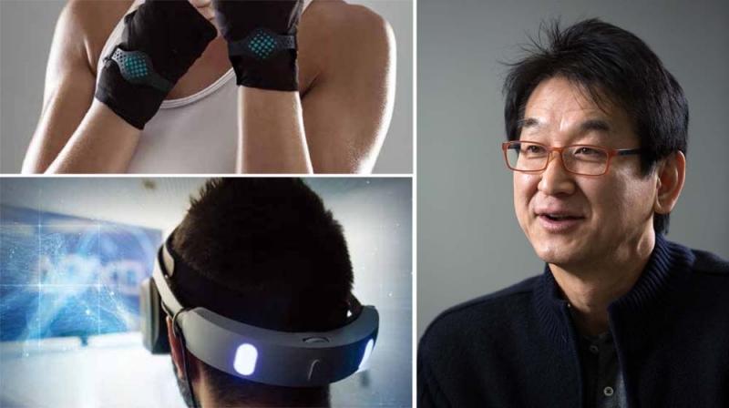 이윤식 교수(왼쪽)는 UNIST로 오기 전 한국전자부품연구원에 재직했던 경험을 살려 스마트 센서의 사업화 전략을 세우고 있다. 오른쪽 그림들은 움직임을 측정하는 센서와 가상현실 기술에 필요한 센서 등을 보여준다. | 사진: 안홍범