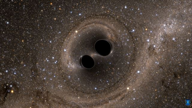두 블랙홀이 충돌하기 직전의 모습을 상상한 그림. 두 블랙홀이 합쳐지면서 나온 중력파가 우주공간에 퍼져 14억년 뒤인 지난해 12월 지구에 도달했다. 이를 미국 검출기 '라이고'가 포착해 6월 16일자로 언론에 공개했다. 라이고과학협력단(LSC) 제공