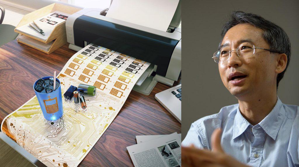 주변에서 흔한 잉크젯 프린터로 배터리를 출력하고, 이를 컵에 적용한 모습을 3D 그래픽으로 표현했다. 오른쪽은 이번 연구를 주도한 이상영 교수의 모습이다. | 그래픽: 큐브3D, 사진: 안홍범