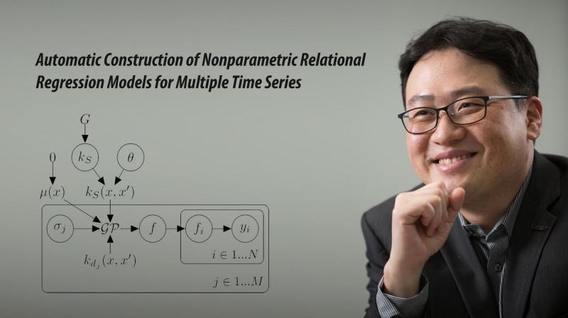 최재식 교수와 그가 개발한 '준-관계형 커널 모델'이다. 이 모델은 개별적인 데이터를 표현하는 커널 kd(x,x') 및 관계형 데이터를 표현하는 커널ks(x,x')을 함께 학습한다. | 사진: 안홍범