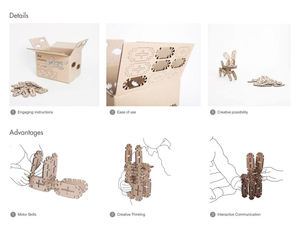 토이박스는 상자 겉면에 블록 조각과 사용설명서가 그려져 있다. 블록 조각은 쉽게 뜯어낼 수 있도록 만들어졌으며, 이를 조립하면 손쉽게 장난감을 만들 수 있다. | 사진: 제임스 셀프 교수팀 제공
