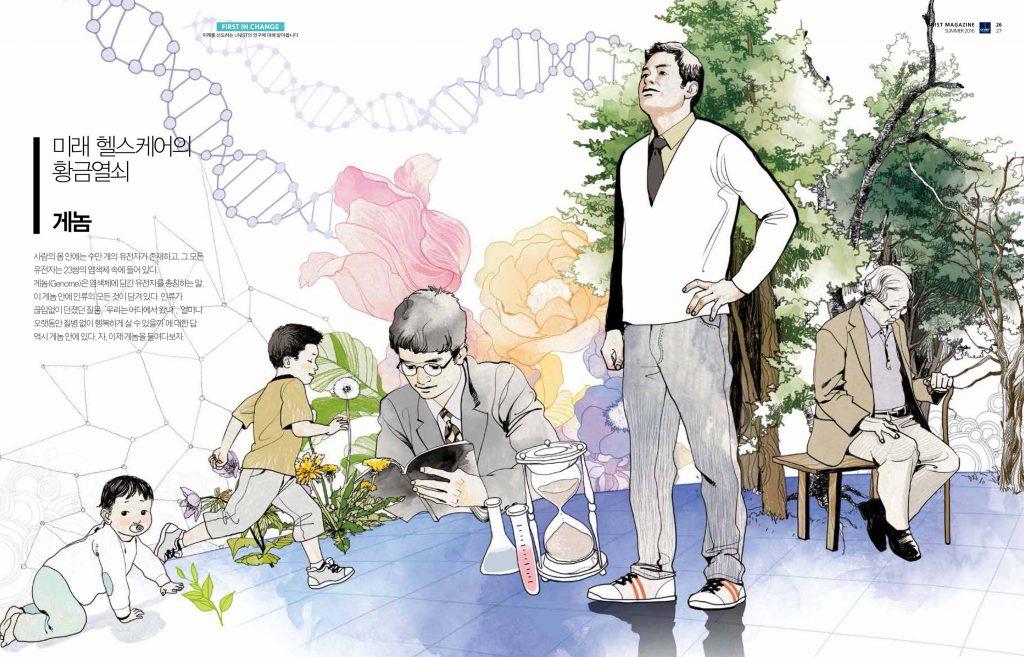 퍼스트 인 체인지: 사람을 이루는 설계도라 불리는 '게놈'. 눈에도 안 보이는 존재를 둘러싸고 '늙지 않고 오래 사는 꿈'에 도전하는 연구자들이 있다. 울산에서 만명의 게놈을 분석하는 프로젝트에 참여하고 있는 5인을 만나 앞으로의 비전을 들었다.