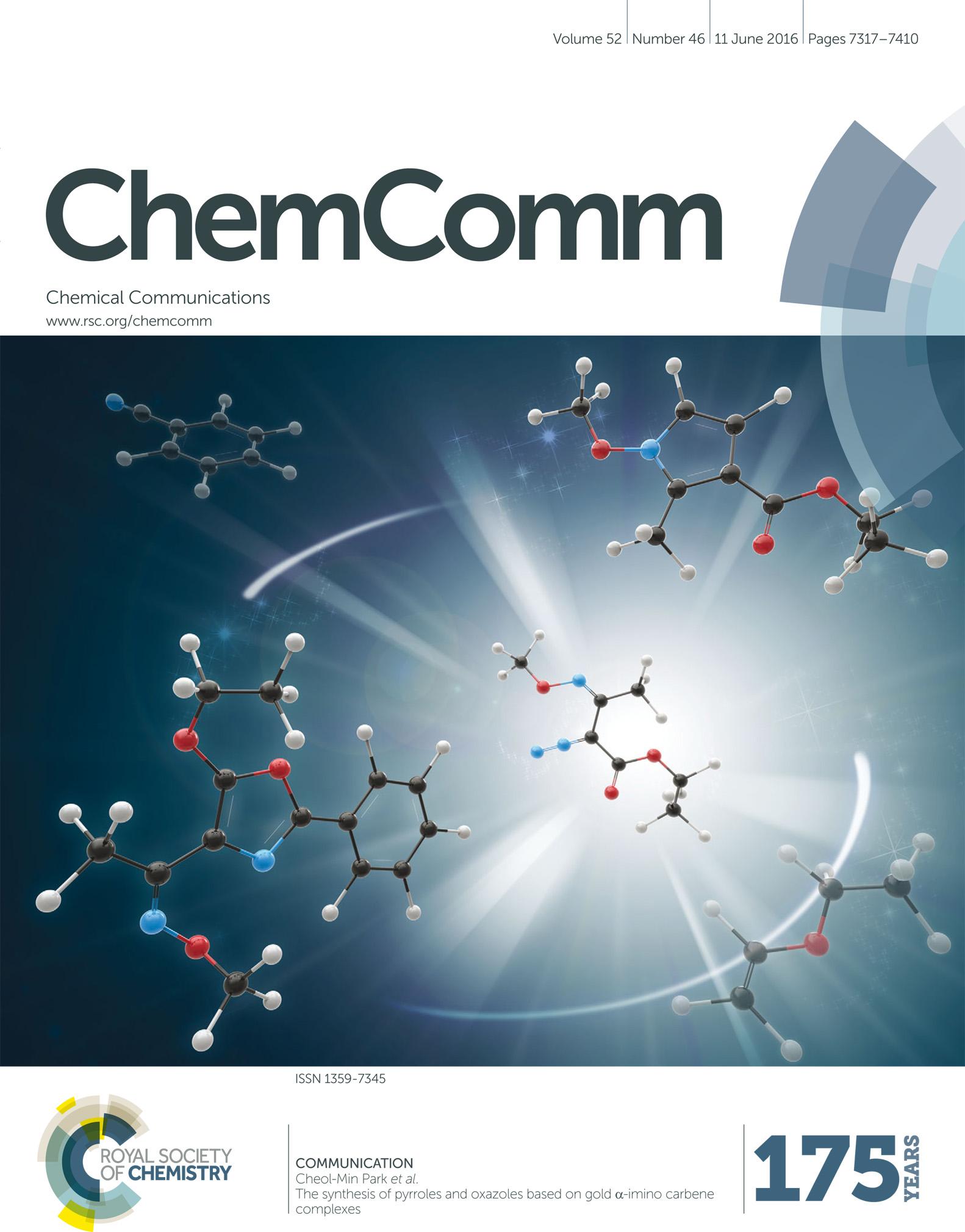 Chemical Communications (2016), 52,. 표지의 모습