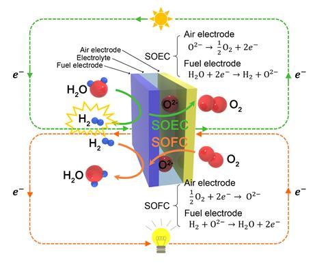 SOEC는 SOFC의 역반응으로 작동한다. 태양열, 풍력 등의 신재생에너지를 활용해 물을 전기분해하면 수소를 생산할 수 있다. 이때 생성된 수소는 전기가 필요할 때 다시 SOFC를 작동해 발전에 사용할 수 있다.