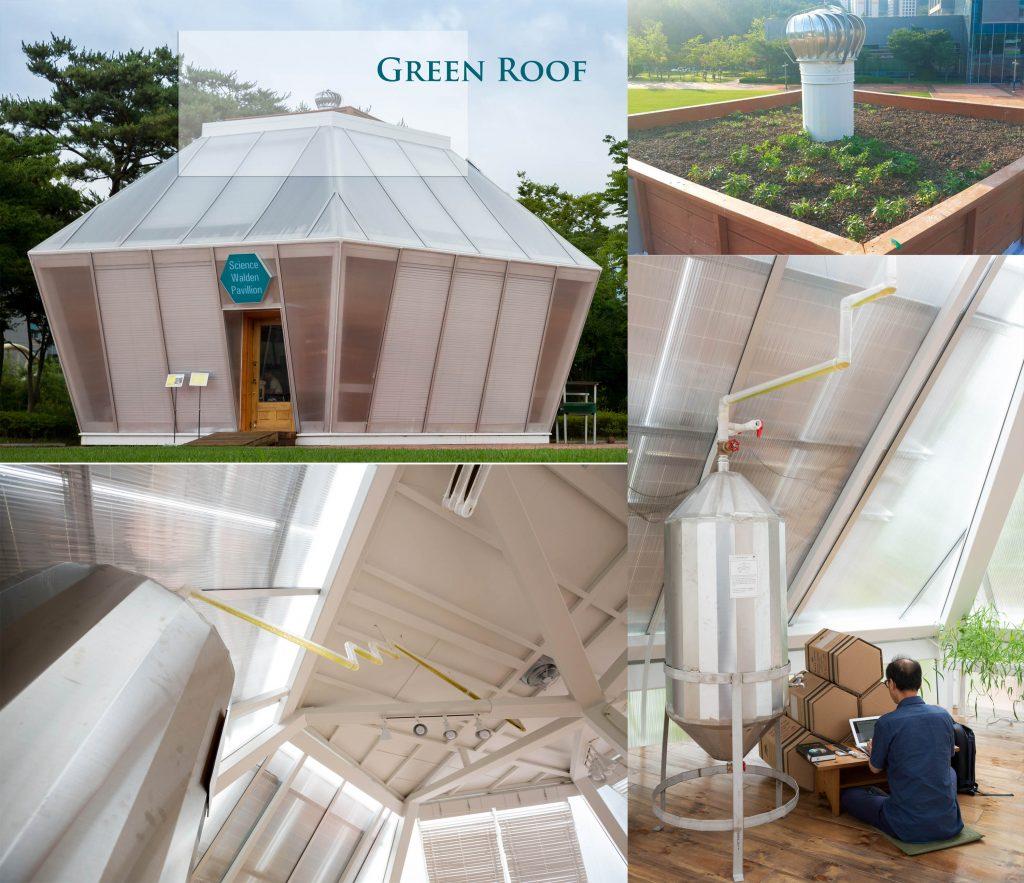 사월당 옥상에는 '그린루프'가 설치돼 있다. 옥상으로 빠져나온 빗물은 사월당 안으로 이어진다. 조재원 교수의 뒷모습도 보인다.