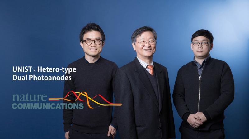 인공광합성에 쓰이는 소자에 '이종쌍전극' 개념을 도입한 UNIST 연구진의 모습, 왼쪽부터 장지욱 교수, 이재성 교수, 김진현 연구원 | 사진: 김경채