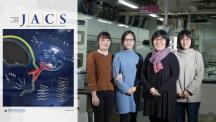 알츠하이머병의 원인 단백질을 자르는 금속 착물을 나타낸 이미지가 JACS 표지를 장식했다. 오른쪽은 이 기술을 개발한 UNIST 연구진 왼쪽부터 이미선 연구원, 남은주 연구원, 임미희 교수, 강주혜 연구원. | 사진: 김경채