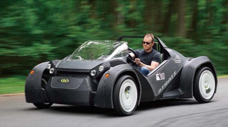 미국 로컬모터스 3D 프린팅 전기차(Strati)의 모습