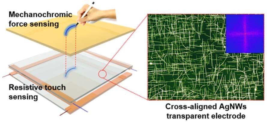 은 나노와이어 투명전극 두 장을 포개서 만든 터치스크린 위에 압력에 따라 색깔 진하기가 달라지는 고분자 필름을 더한 터치스크린의 구조