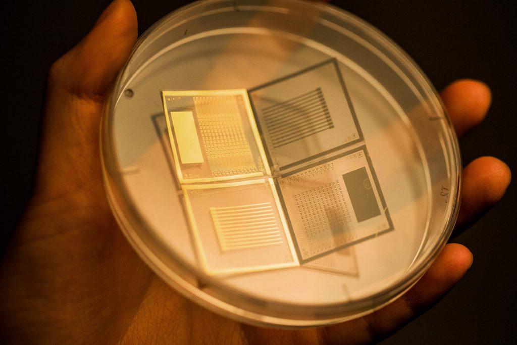 공기를 유전층으로 삼는 능동구동형 3차원 압력 센서의 모습 | 사진: 김경채