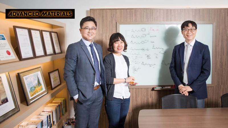 하이브리드 탄소 나노 구조체를 개발한 UNIST 연구진 왼쪽부터 권오훈 교수, 최유리 박사, 김병수 교수.   사진: 김경채