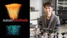 박정훈 교수(오른쪽)는 다개구 보정광학 현미경을 개발해 넓은 영역에서 쥐의 뉴런과 미세아교세포를 관찰했다. | 사진: 김경채