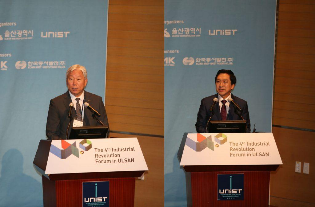 정무영 총장과 김기현 시장이 환영사를 하고 있다. | 사진: 김경채