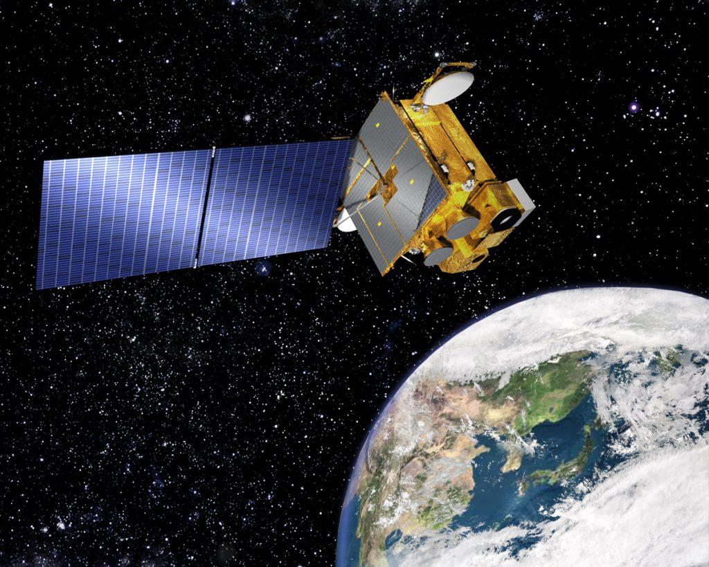 우리나라 최초의 정지궤도위성인 천리안이 임무를 수행하는 모습. 사진 출처: 위키백과