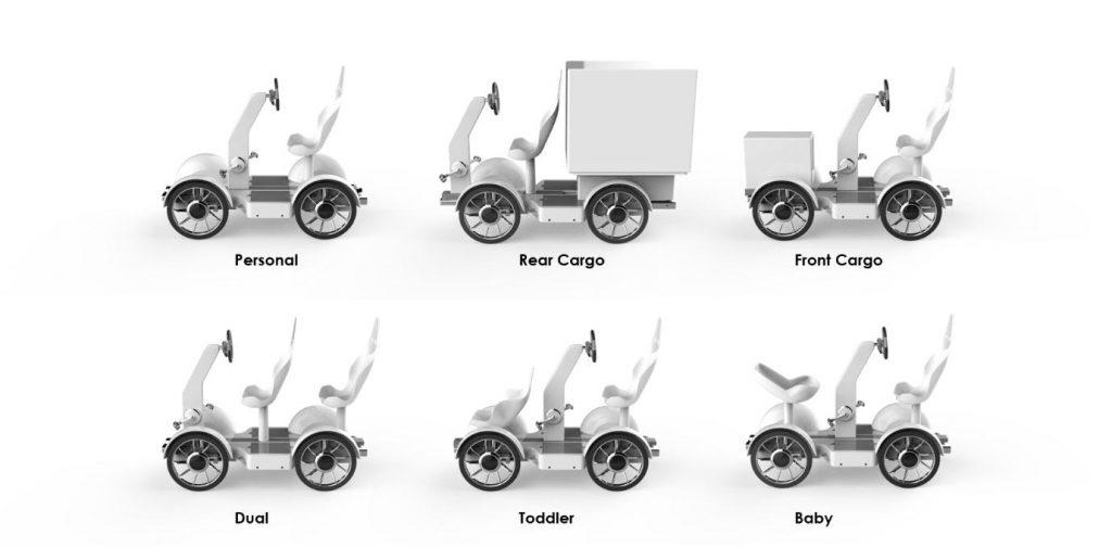 사용자의 필요에 따라 6가지 형태로 변신이 가능한 하이브리드 모듈 모빌리티의 모습