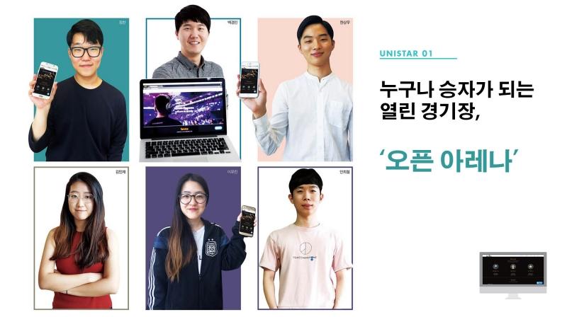 오픈아레나를 창업한 UNIST 학생들의 모습. 왼쪽 위부터 시계방향으로 장찬, 백경인, 한상우, 안희철, 이유진, 김민채 학생이다.