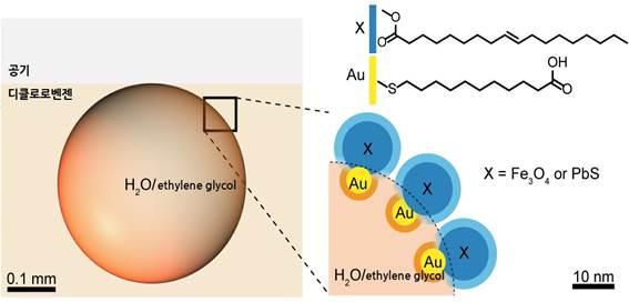액체방울을 둘러싼 나노 계면활성제는 나노입자로 만들었다. 연구진은 금에 친수성 분자를 붙인 친수성 나노입자(노랑)와, 산화철) 혹은 황화납에 소수성 분자를 붙인 소수성 나노입자(파랑)를 결합했다.