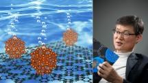 백종범 교수가 개발한 2차원 유기 구조체 C₂N은 다양한 분야로 활용할 수 있는 물질이다. 2018년 과학의 날을 맞아 마련된 특별전시회에서는 물을 전기분해해 수소를 생산하는 촉매(Ru@C₂N)으로 국민들에게 선보였다. | 사진: 안홍범