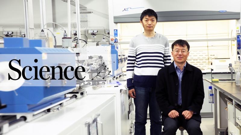 이번 연구에서 다이아몬드의 이론적인 탄성력을 계산해낸 펑 딩 교수(왼쪽)와 지첸 동 박사. 지첸 동 박사는 IBS 다차원탄소재료연구단 소속이다. | 사진: 김경채