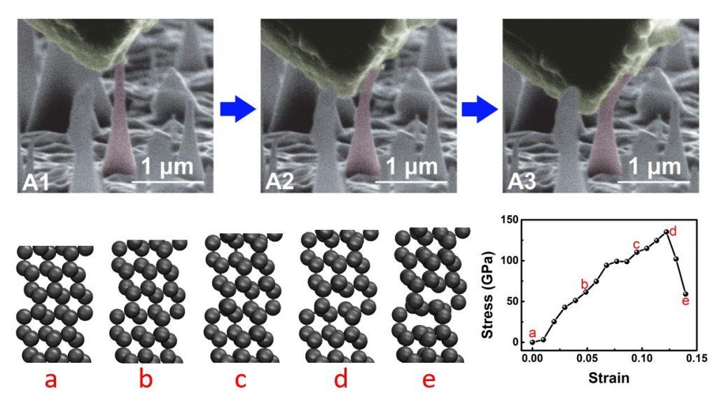 나노 크기의 다이아몬드에 힘을 줘서 휘어지도록 만든 장면을 촬영했다. 펑 딩 교수 연구진은 다이아몬드가 이론적으로 얼마까지 늘어날 수 있는지 계산했다.