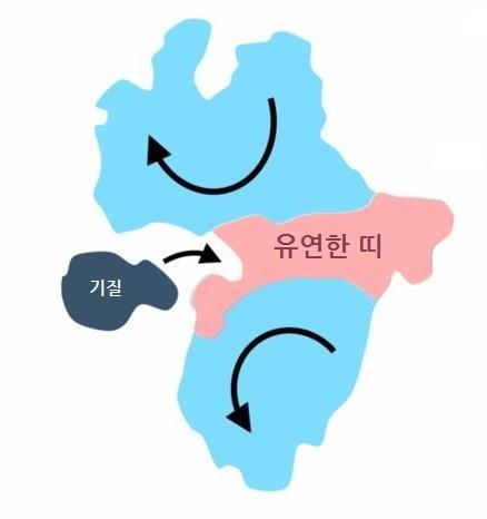 단백질의 모식도. 푸른 색 부분은 무극성 아미노산으로 이뤄져 단단한 결합을, 붉은 색 부분은 극성 아미노산들이 약한 결합을 한다. 붉은 색 띠 부분이 유연하게 구부러지는 경첩 운동을 하면서 단백질이 맡은 고유의 기능을 한다.