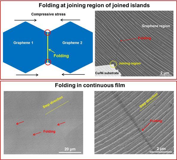 그래핀 섬과 그래핀 필름의 접힘선들