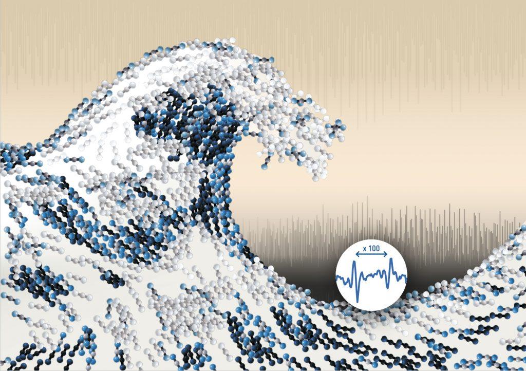 정렬된 이황화탄소(CS₂) 분자들을 형상화한 그림. CRASY는 분자과학에 큰 파도를 일으키는 혁명적인 도구가 될 것이다. | 그래픽: 토마스 슐츠