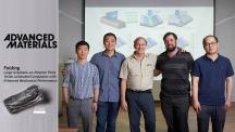 [연구진] 12번 접은 그래핀 복합체를 만든 연구진_왼쪽부터 춘휘왕(Chunhui Wang) 빈왕(Bin Wang) 로드니 루오프(Rodney Ruoff) 벤자민 커닝(Benjamin Cunning) 이지앙(Yi Jiang). | 사진: 김경채