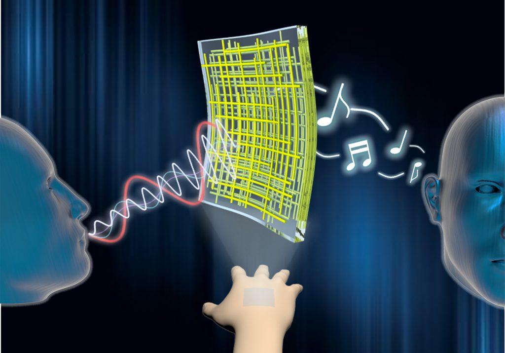 투명 전도성 나노막(가운데)을 이용하면 접착 가능한 투명 스피커와 음성 인식 가능한 마이크를 만들 수 있다.