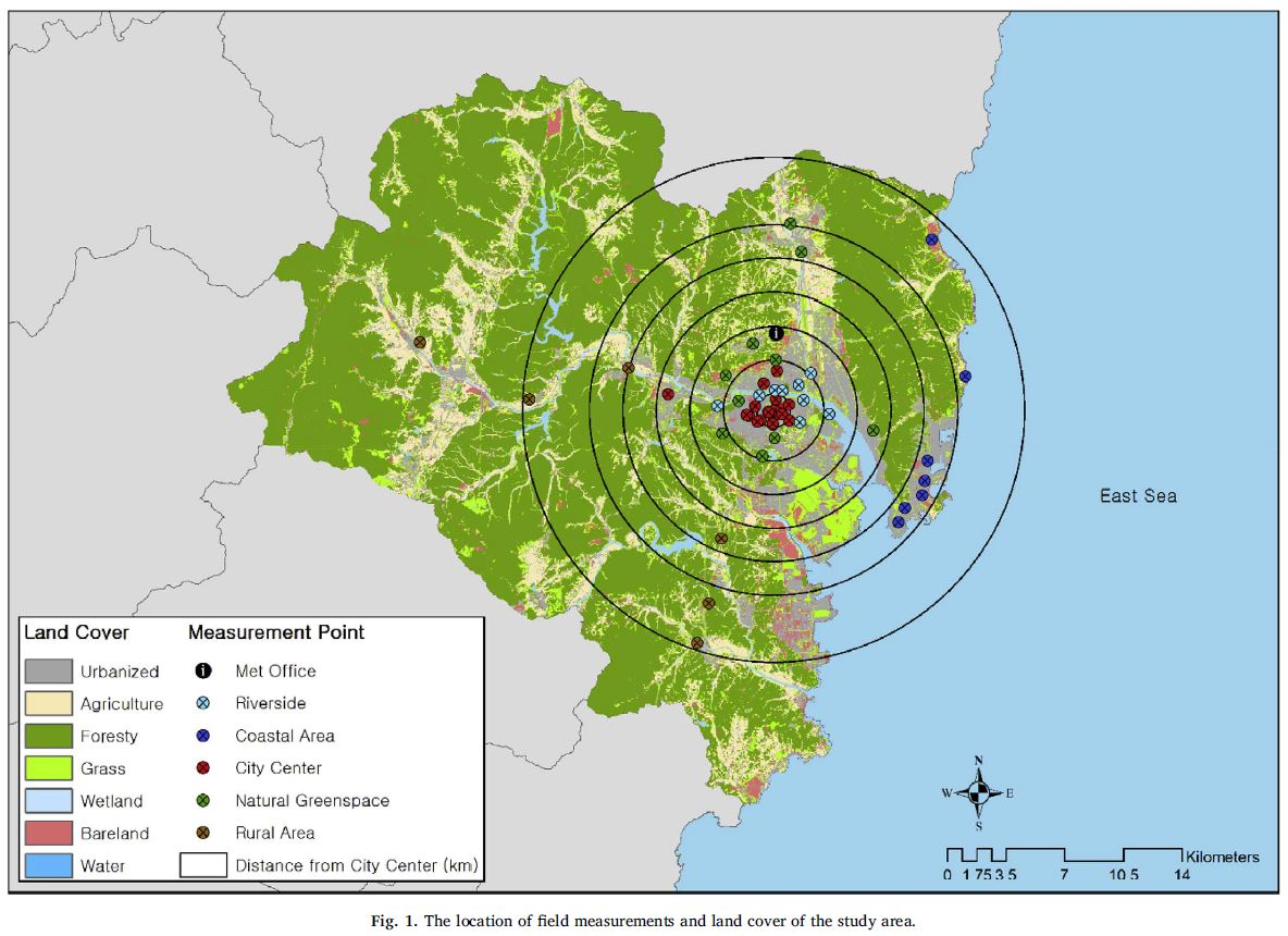 연구진이 울산에 설치한 44개의 측정소 지도