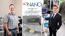 투과전자현미경으로 생체분자를 관찰하기 위해 중수를 넣은 그래핀 주머니를 이용하는 방법을 개발한 UNIST 교수진. 왼쪽은 스티브 그래닉 특훈교수, 오른쪽은 권오훈 교수다.   사진: 아자스튜디오 이서연, UNIST 김경채