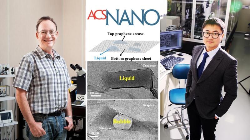 투과전자현미경으로 생체분자를 관찰하기 위해 중수를 넣은 그래핀 주머니를 이용하는 방법을 개발한 UNIST 교수진. 왼쪽은 스티브 그래닉 특훈교수, 오른쪽은 권오훈 교수다. | 사진: 아자스튜디오 이서연, UNIST 김경채