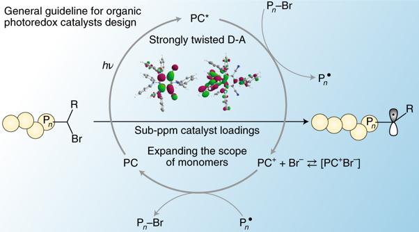 왼쪽 끝에 있는 고분자를 성장시켜 오른쪽 끝에 있는 고분자로 만드는 과정에는 '유기물 광촉매'가 필요하다. 이번에 개발한 광촉매 설계원리는 '강력하게 비틀린 전자주개-전자받개(Strongly twisted D-A)' 구조(플랫폼)로 연결된 전자주개(D)와 전자받개(A)에 각각 어떤 유기물을 넣을지 결정하는 과정이다