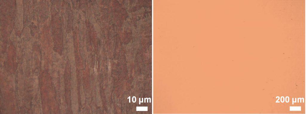 다결정 금속 포일(왼쪽)과 단결정 금속 포일(오른쪽)의 비교. 단결정 금속 포일엔 결정립계(결정의 경계)가 관찰되지 않는다.