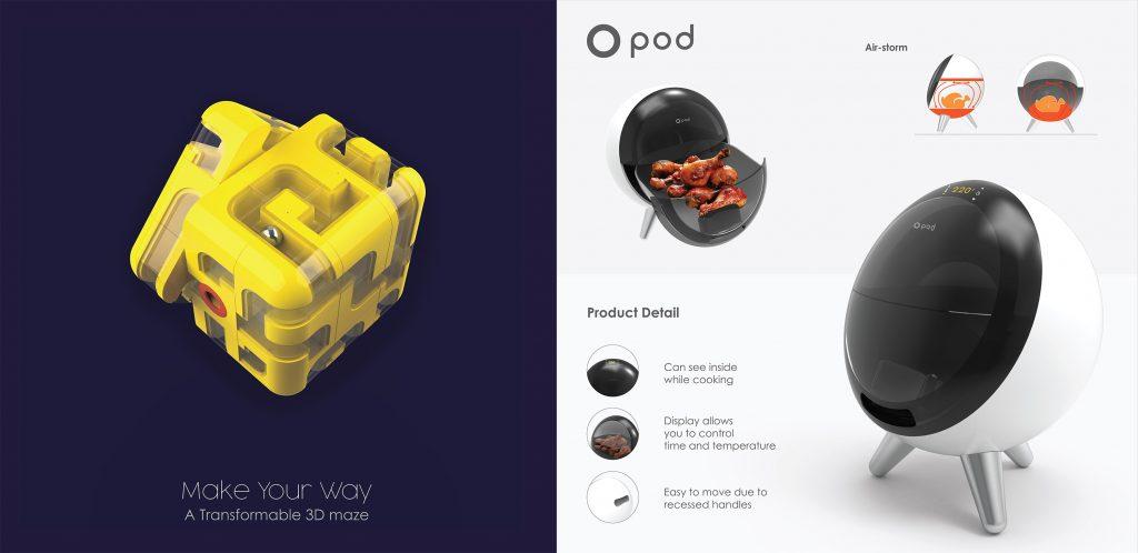 개인 디자이너 코너에 선정된 2개의 작품. 왼쪽부터 메이즈 큐브와 O-POD