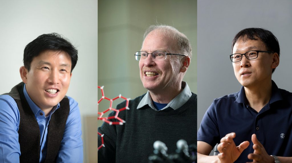 재료과학 분야에서 선정된 UNIST 교수 3명. 왼쪽부터 조재필, 로드니 루오프, 김진영 교수. | 사진: 안홍범