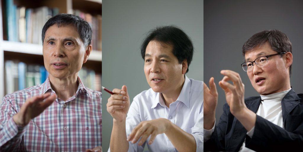 올해 신설된 크로스 필드 분야에서 선정된 김광수, 석상일, 백종범 교수의 모습. | 사진: 안홍범