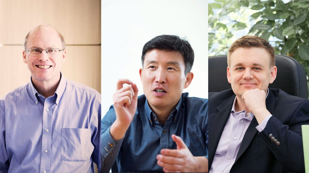 화학 분야에서 선정된 로드니 루오프, 조재필, 크리스토퍼 비엘라프스키 교수의 모습. | 사진: 김경채, 안홍범