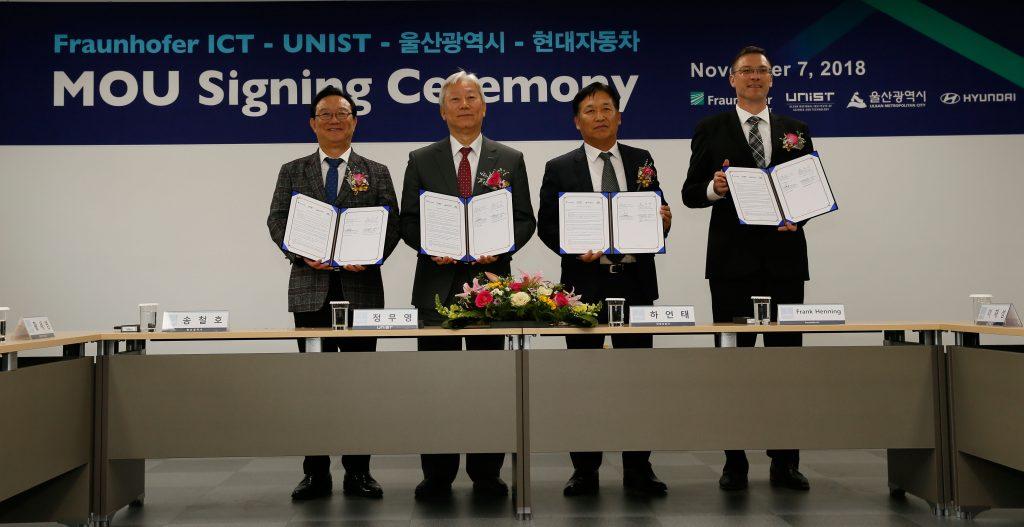 울산시-UNIST-현대자동차-프라운호퍼는 경량 복합재를 이용한 자동차 산업 발전에 협력하기로 약속했다. | 사진: 김경채