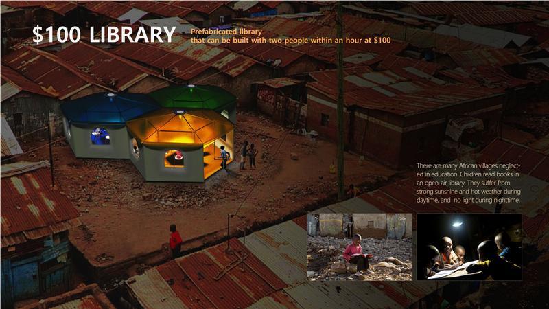 조립식으로 만들 수 있는 도서관은 저개발 국가로 배송해 아이들이 책 읽는 공간을 제공할 수 있다.