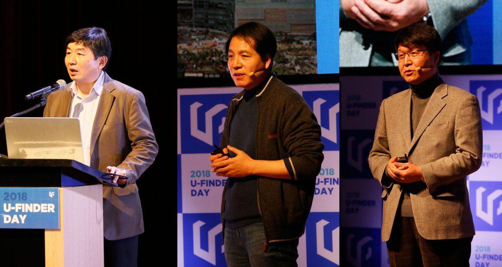 (왼쪽부터) 김병철 대표(클리노믹스), 석상일 교수(FES), 이명희 교수(사피엔반도체)가 각각 회사의 미래 전망에 대한 소개를 진행했다. | 사진: 김경채