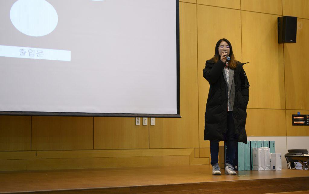 5월 퀄컴에 입사하는 윤희인 동문은 자신의 경험을 담담히 소개했다. | 사진: 김홍민