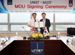 The ceremony of signing MoU between UNIST and MUST in the pursuit of excellence in education