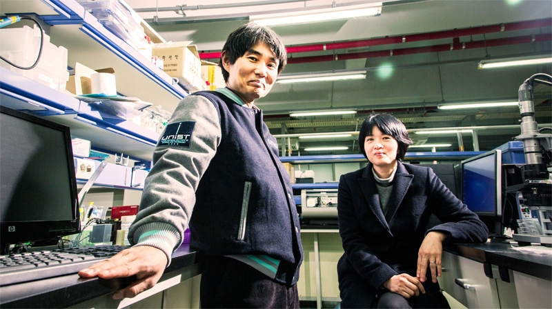 Prof. Jong-Hwa Bhak (left) and Prof. Yoon-Kyoung Cho (right) from School of Life Sciences are posing for a portrait at their lab.